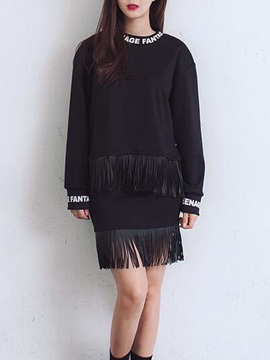 Vogue Long Sleeve Tassel Designed Tee & Skirt