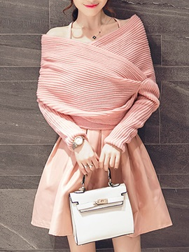 Elegant Asymmetric Sweater & Pleated Skirt