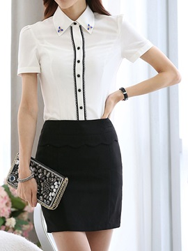 Elegant Short Sleeve Shirt & Sheath Skirt