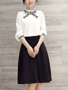 Stylish Bowknot Contrast-Trim Shirt & Plain Skirt