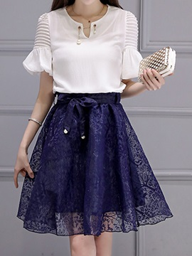 Elegant Pleated Top & A-Line Skirt