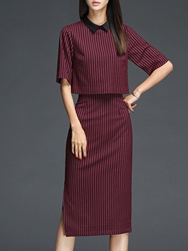 Red Striped Black Lapel Placketing Skirt Suit