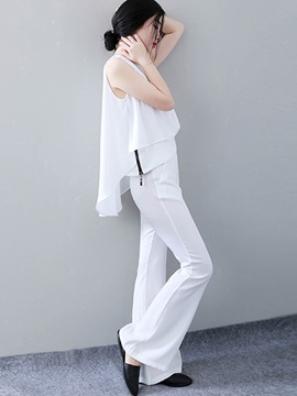 White Zipper Patchwork Chiffon Pants 2-Piece Sets