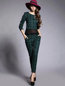 Plaid Printed Mesh Patchwork Pants 2-Piece Sets