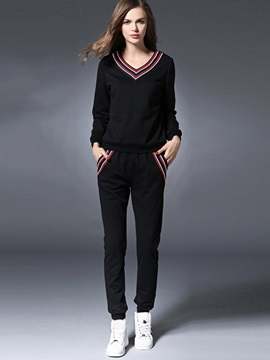 Striped Embroid Sports Pants 2-Piece Sets