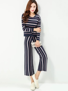 Color Block Striped Printed Top Pants 2-Piece Sets
