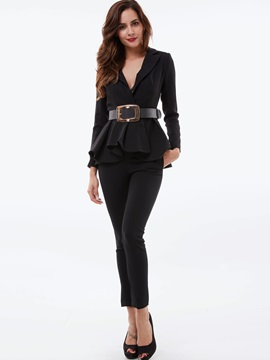 Black V-Neck Falbala Pants 2-Piece Sets