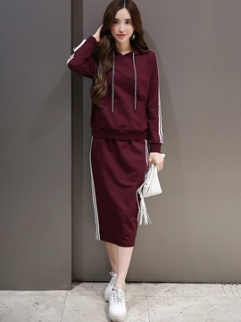 Whit Striped Red Casual Coat Skirt 2-Piece Sets