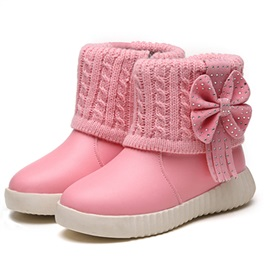 PU Bow Decorated Flat Heel Girl's Snowboots