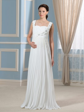 Beading Straps Pleated Chiffon Floor-Length Maternity Wedding Dress