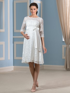 Knee-Length Short Lace Empire Waist Maternity Wedding Dress