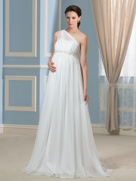 One-Shoulder 30D Chiffon Floor-Length Beaded Empire Pregnant Wedding Dress