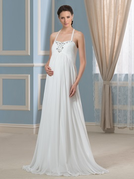 Halter Neckline Beaded Composite Silk A-Line Maternity Wedding Dress