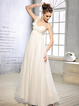 Floor Length Empire Waist Floral Spaghetti Straps Maternity Wedding Dress