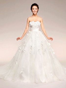 Charming  Strapless Flowers Sashes Bowknot Court Train Maternity Wedding Dress