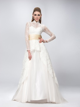 High Collar Neck Long Sleeve Bowknot Sweep Train Lace Wedding Dress