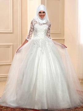 Islam Lace Ball Gown Muslim Wedding Dress with Sleeves
