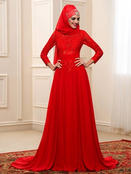 Modest Buttons Zip-up Red Chiffon Long Muslim Wedding Dress with Hijab