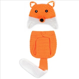 Fox Shaped Hand Knitting Baby's Hat & Panties