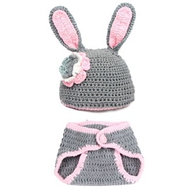 Grey Rabbit Hand Knitting Hat for Baby