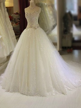 Floor Length A-Line Strapless Sweetheart Beaded Wedding Dress