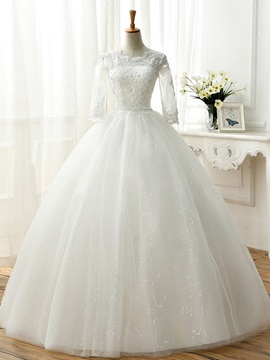 Sequin Lace Top Half Sleeve Ball Gown Wedding Dress