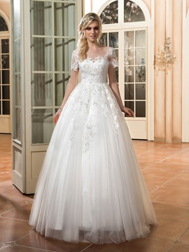 Beautiful Scoop Neck Appliques A Line Wedding Dress With Sleeves