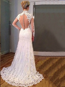 V Neck Appliques Mermaid Wedding Dress With Sleeves