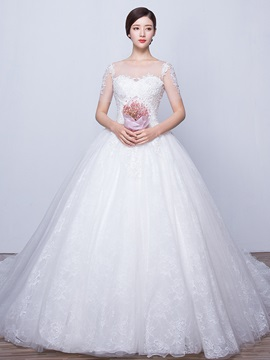 Beautiful Illusion Neckline Ball Gown Princess Wedding Dress With Sleeves