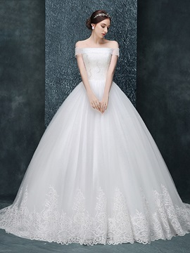 Off The Shoulder Beading Appliques Lace Up Ball Gown Wedding Dress