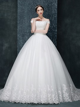 Off The Shoulder Appliques Lace Up Ball Gown Wedding Dress