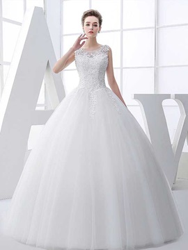 Beautiful Scoop Appliques Ball Gown Wedding Dress