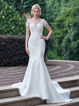 Charming Appliques Lace Mermaid Wedding Dress