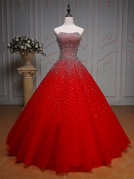 Beautiful Sweetheart Beaded Ball Gown Color Wedding Dress