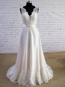 V Neck Appliques Floor Length A Line Wedding Dress