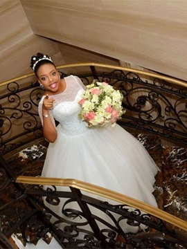 Charming Scoop Lace-Up Half Sleeves Ball Gown Wedding Dress