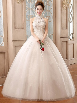 High Quality Beaded Lace Ball Gown Wedding Dress