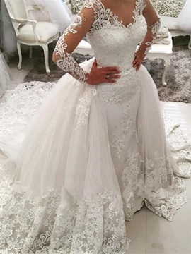 Amazing V Neck Appliques Long Sleeves Wedding Dress