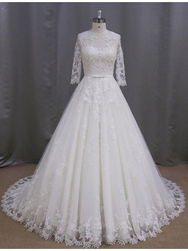 Charming Jewel Appliques Half Sleeves A Line Wedding Dress