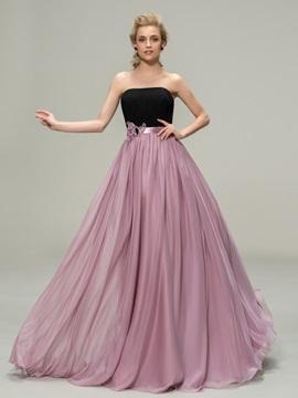 Matching Color Strapless A-Line Chiffon Long Bridesmaid Dress