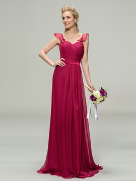 Eye-catching Ruched Sweetheart A-Line Long Bridesmaid Dress