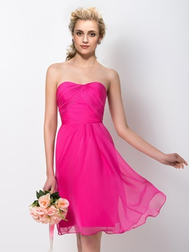 Knee Length Sheath Chiffon Strapless Sweetheart Bridesmaid Dress