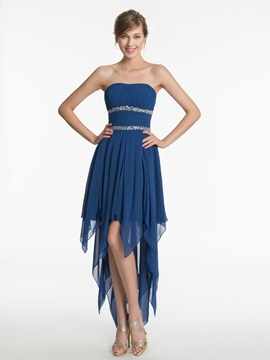 Strapless Beading High Low Bridesmaid Dress