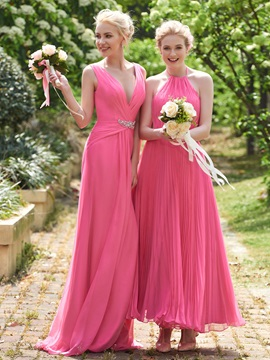 Beautiful Halter A Line Ankle Length Bridesmaid Dress