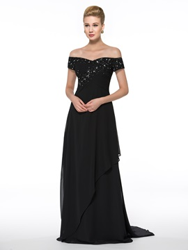 Off-The-Shoulder Lace Chiffon Floor-Length Mother of the Bride Dress