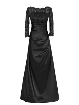 Bateau Neckline Long Sleeve Lace Satin Floor-Length Mother of the Bride Dress