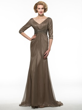 V-Neck Long Sleeve Brown Chiffon Long Mother of the Bride Dress