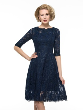 Knee Length Half Sleeve A-Line Lace Mother Of The Bride Dress