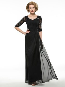 Ruched V-Neck Lace Half Sleeve Buttons Zip-up Black Mother of the Bride Dress