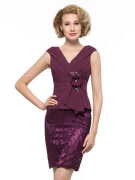 V-Neck Ruched Chiffon Sheath Mother of the Bride Dress